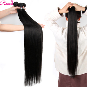 Image 4 - Brazilian 36 38 40 Straight Human Hair Weave Bundles with Closure Long 3 Bundles With Lace Closure 4*4  Remy Human Hair Bundles