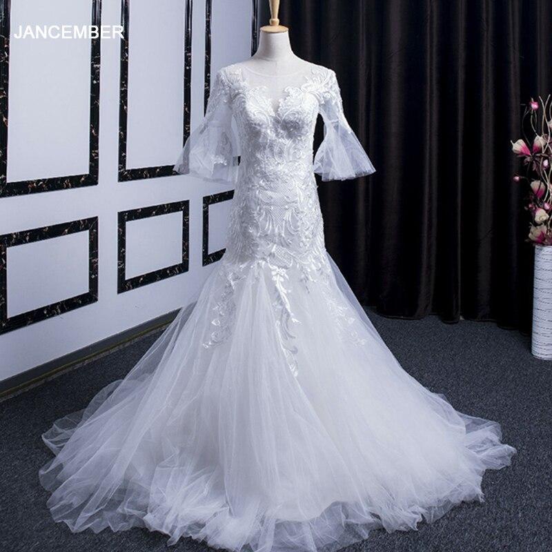 LSGZ001 Jancember Wedding Dress Mermaid Lace White O Neck Half Sleeve Court Train Pattern Dress Bride Vestido De Noiva Sereia