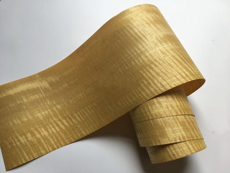 2x Natural Genuine Fig Figuared Wood Veneer Furniture Decorative Veneer Ribbon Stripe 0.2mm