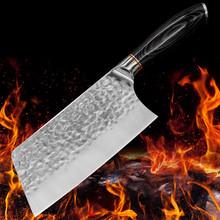 Chiński nóż do krojenia filetowania kuty rzeźnik zestaw noży kuchennych serbski Kiritsuke nóż szefa kuchni tasak ze stali wysokowęglowej tanie tanio YJYSET CN (pochodzenie) Ekologiczne Noże Ce ue Lfgb Cleaver Kitchen Chef frozen Santoku Cleaver Cutter Slicing Filleting Steak