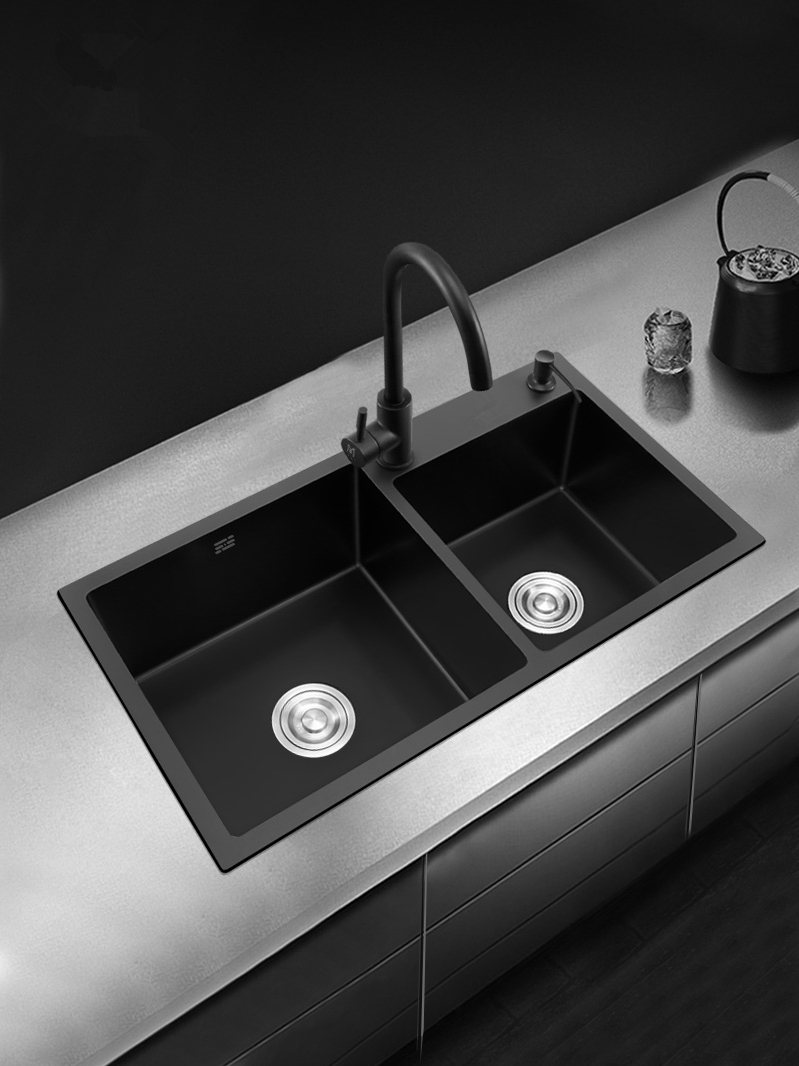 Black Kitchen Sink Doubel bowel Above Counter or Udermount Stainless Steel Seamless Vegetable Washing Basin Sink 2