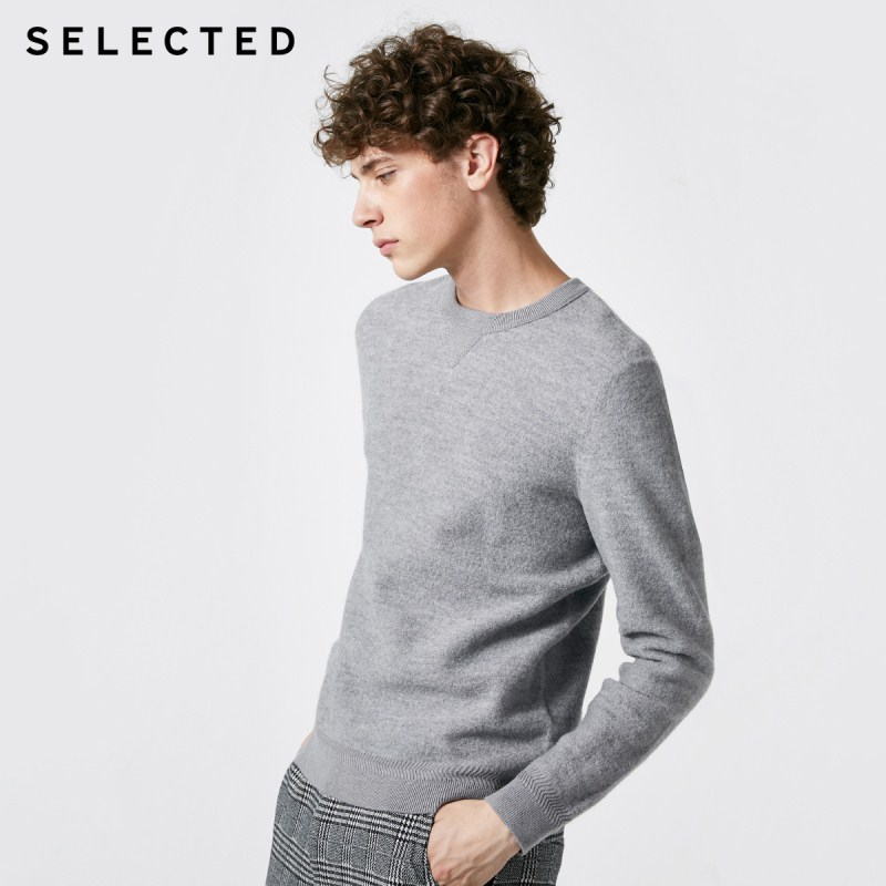 SELECTED Men's Loose Fit 100% Wool O-Neck Long-sleeved Knit Sweater S|418424531