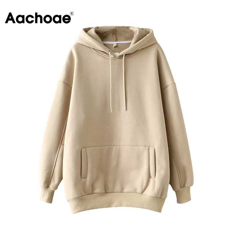 Aachoae Casual Solid Hooded Hoodies Vrouwen Batwing Lange Mouwen Plus Size Sweatshirts Herfst Trui Pure Fashion Tops Sudaderas