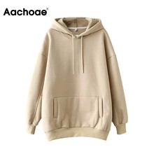 Aachoae Casual Solid Hooded Hoodies Vrouwen Batwing Lange Mouwen Plus Size Sweatshirts Herfst Trui Pure Fashion Tops Sudaderas(China)
