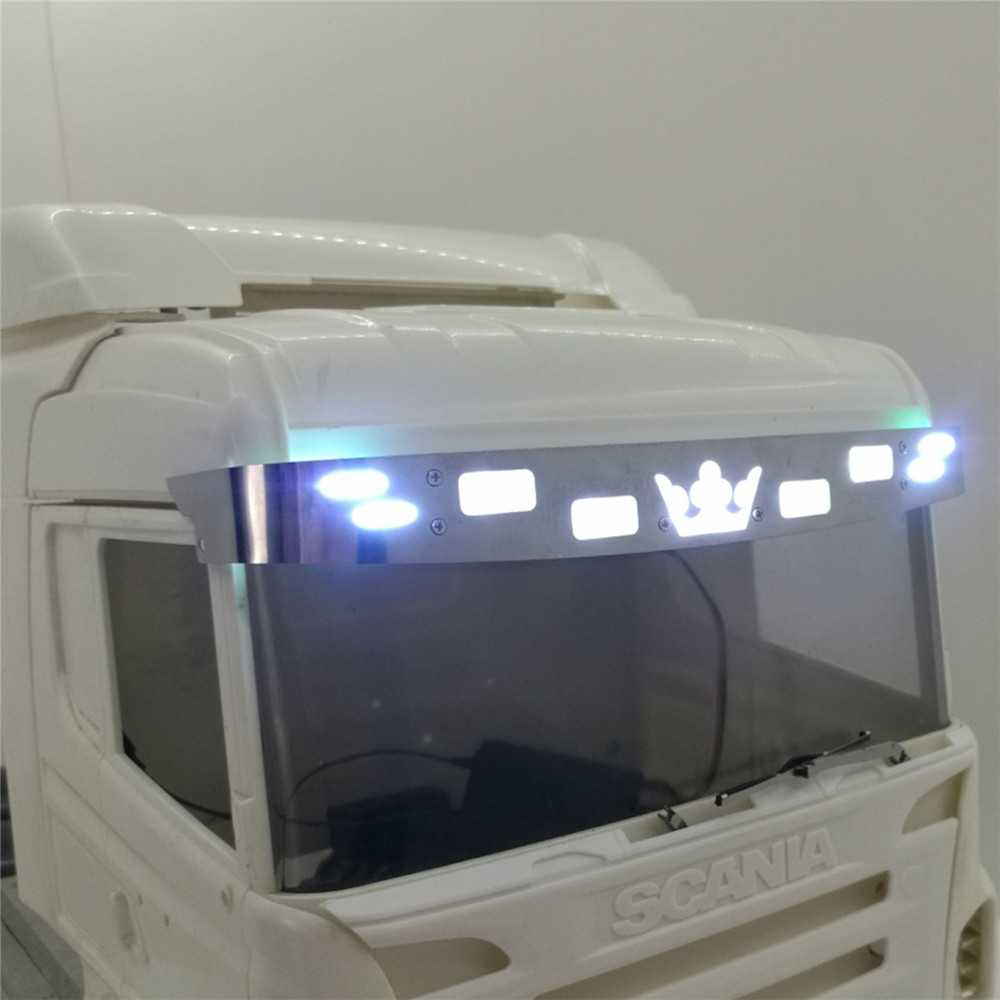 Decoration Sun Visor LED <font><b>Lights</b></font> Sunshade Lamp for 1/14 Tamiya Scania R620 56323 R730 RC <font><b>Truck</b></font> Parts Accessories image