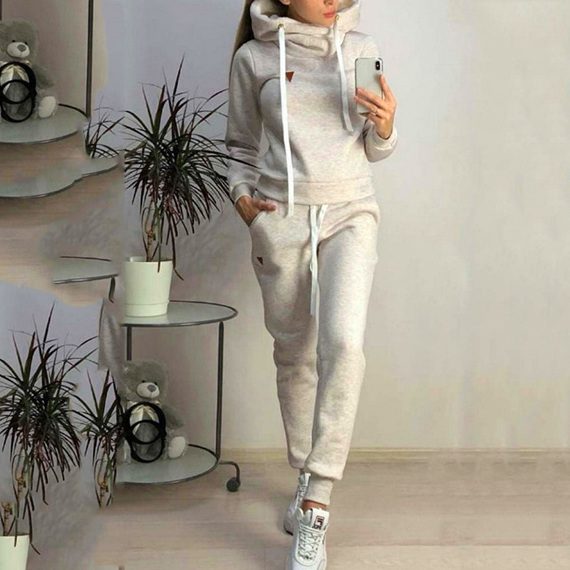 Tracksuit Women Long Sleeve Jackets And Pants Autumn Winter Hooded Female Two Piece Sets Two Piece Set Warm Outfits Women Suit