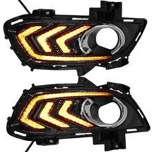 2 sztuk światła do jazdy dziennej dla Ford fuzja Mondeo 2013 2014 2015 2016 samochodów DRL 12V LED z kolei żółty sygnał przekaźnik akcesoria