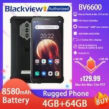 Blackview BV6600 IP68 Wasserdichte Robuste Smartphone 5.7 ''Bildschirm Android 10 Octa Core 4GB RAM 64GB ROM Mobilen NFC 8580mAh