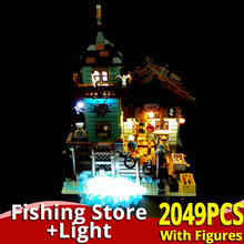 IDEAS Old Fishing Store with light set lepinlys house Building Blocks 21310 Brick Educational Toys for children christmas gift