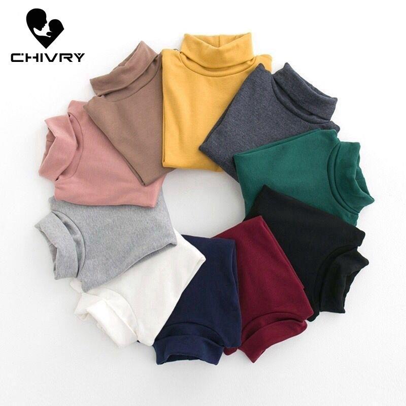 New 2020 Autumn Winter Boys Girls Kids Fashion Solid T Shirt Tops Children O-neck Long Sleeve Warm Casual T-shirts