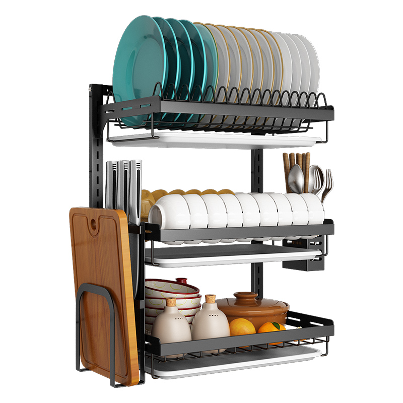 Dish rack drain wall mount kitchen rack free punching household hanging wall put bowl plate dish storage rack