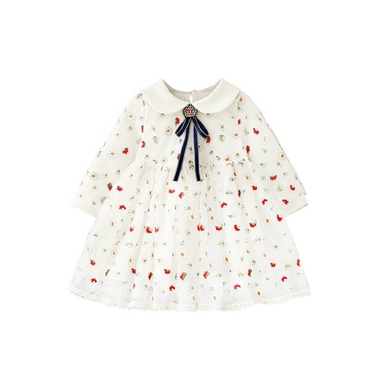 Hariri Girls Floral Princess Dresses New Fashion Sweet Kids Flowers Normal Sleeve Costumes Children Vestidos Birthday Clothing