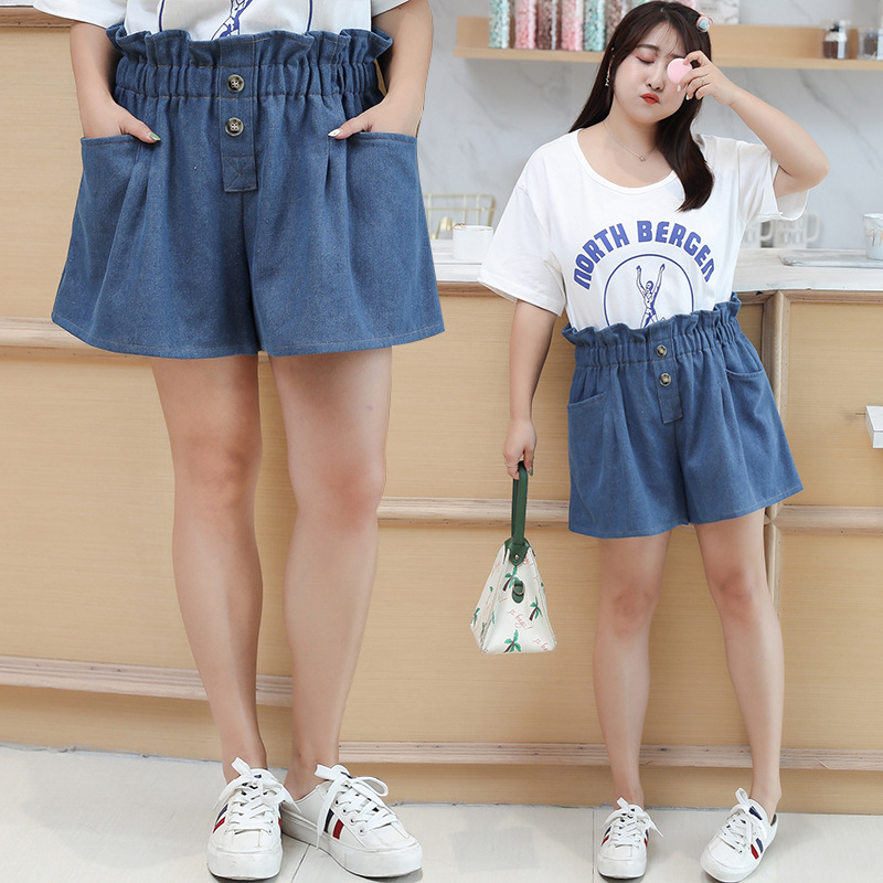[Xuan Chen] Fat Mm Large Size Dress 2019 Summer New Products Cowboy Bud High-waisted Shorts Short Sleeve T-shirt Suit W026