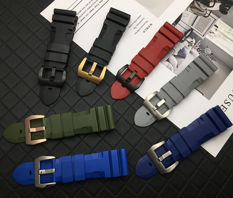 22mm 24mm 26mm Silicone black green blue red grey Rubber watch band Replace For Panerai strap watch band watchband pin buckle(China)