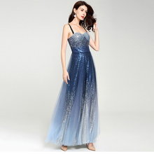 Summer Women's Evening Elegant Dress Blue Gradient Sky Star Sleeveless Ladies Sexy Fashion Sling Dresses Gown for Women 2019 1P цены онлайн