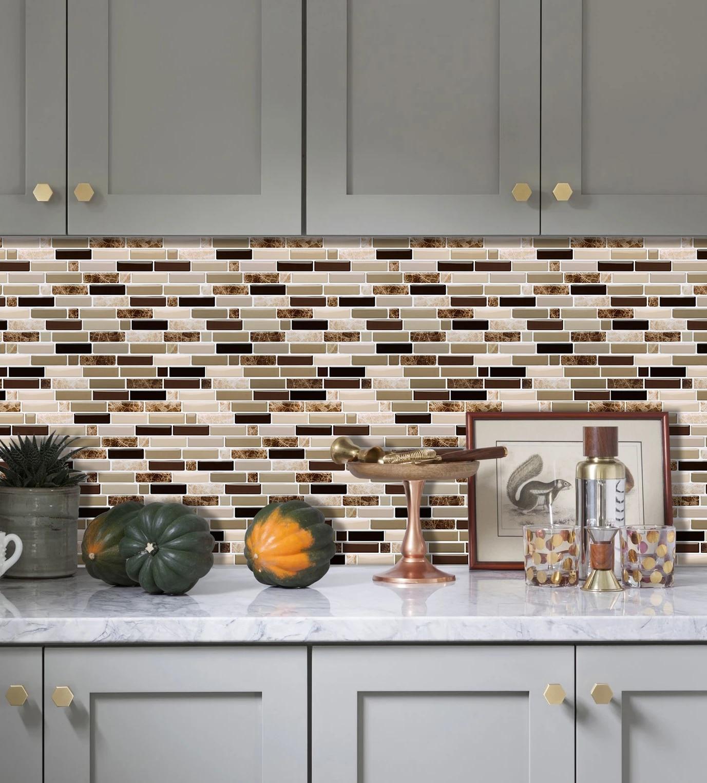 Vividtiles Mix Color Marble Stone Texture Easy DIY Self adhesive Vinyl  Wallpaper 9D Peel and stick Wall Brick tiles  9 Sheet