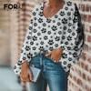 FORUDESIGNS Drop Ship 1PCS Paw Theme Pattern Design Female Clothes Daily Casual Women Loose Chiffon Blouse V-Neck Shirts Beach 1