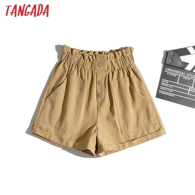 Tangada Women Cotton Shorts High Waist Buttons Pockets Female Retro Basic Casual Shorts Pantalones 1M2 4