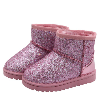 2020 Winter Boots For Boys Girls Fashion Snow Boots Bling Glitter Kids Rubber Boots Anti-slip Children's Cotton Boots Warm Thick kids bling sequin glitter boots girls 2020 winter snow shoes anti slip fur ankle boots fashion girl sneaker botas bebe niña d30