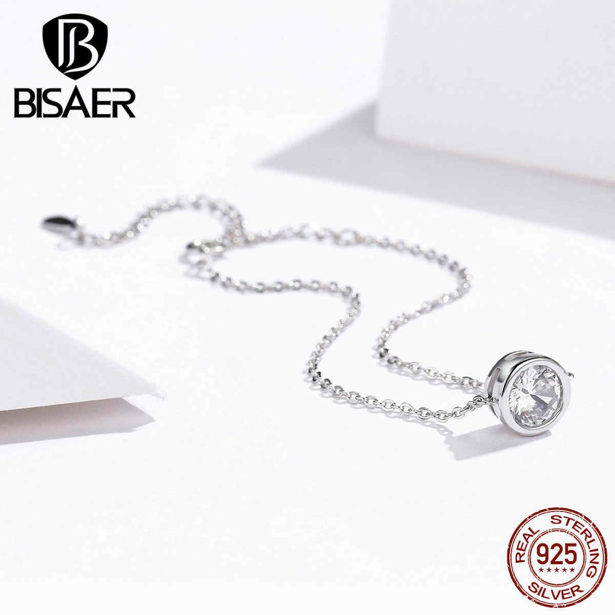 Bisaer pulseiras de prata, pulseiras de prata esterlina 925, círculo redondo, corrente feminina, bracelete de lagosta, joia de prata esterlina ecb157