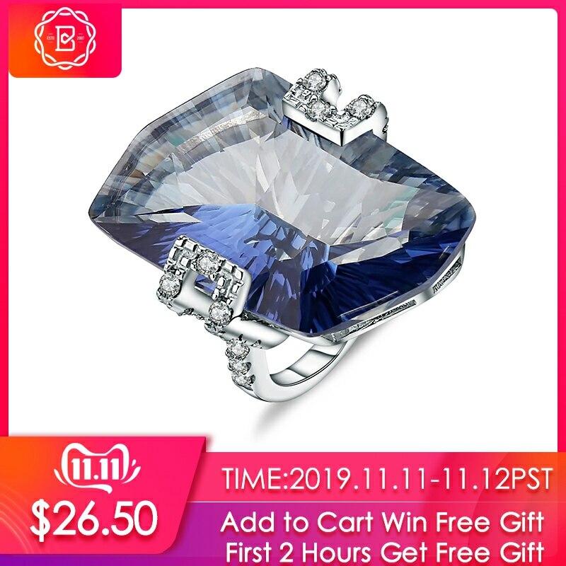 GEM'S BALLET 21.20Ct Natura Iolite Blue Mystic Quartz Gemstone Cocktail Rings 925 Sterling Silver Fine Jewelry For Women