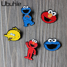 Leuke Cartoon Emaille Pin Grote Gele Vogel Cookie Monster Badge Broche Kids Shirt Jas Reversspeldjes Sjaal Clips Kleding Accessoires(China)
