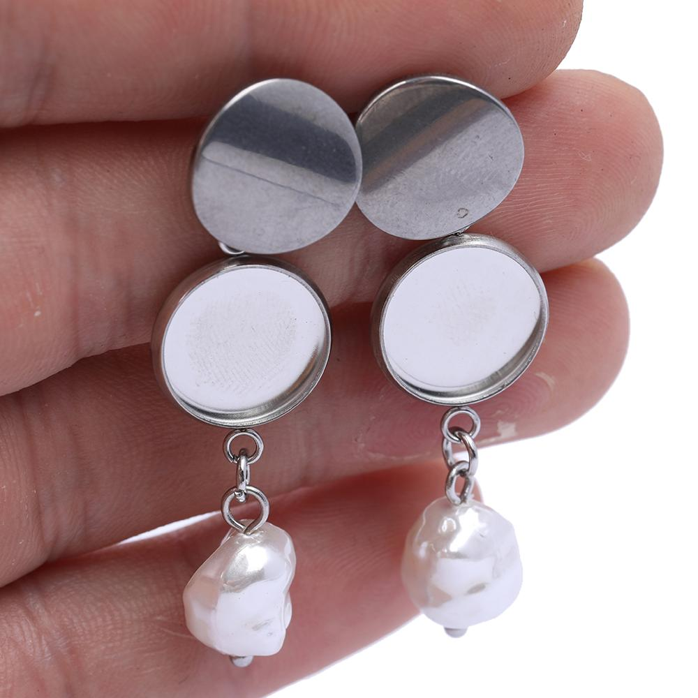 10pcs Stainless Steel 12mm Cabochon Earring Settings With Dangle Pearl Charms Diy Base Blanks For Earrings Making