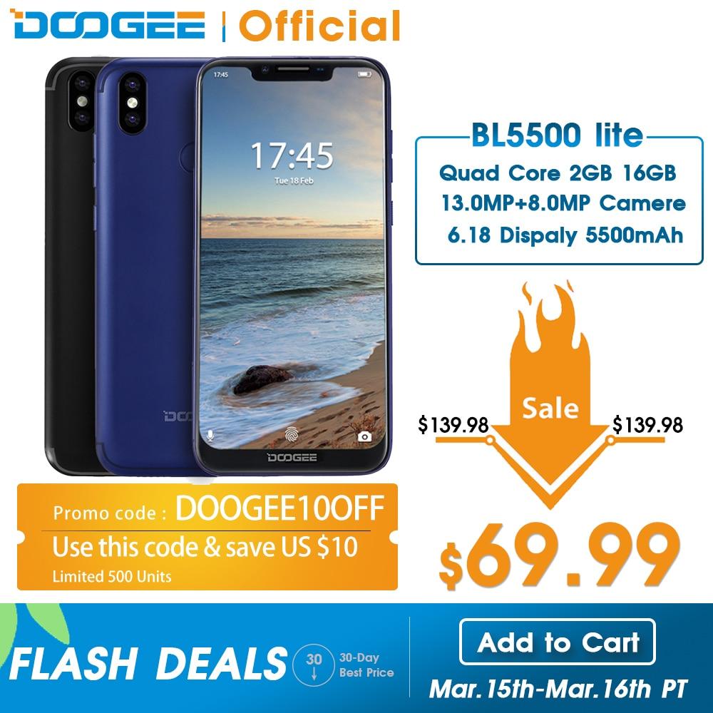 DOOGEE BL5500 Lite 4G Network 5500mAh Smartphone Fingerprint 6.19 Inch MTK6739 Quad Core 2GB RAM 16GB ROM Dual SIM 13MP Android