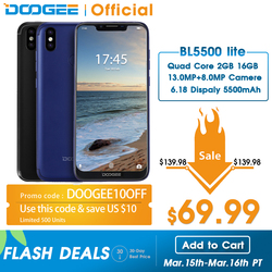 Doogee bl5500 lite 4g rede 5500 mah smartphone impressão digital 6.19 polegada mtk6739 quad core 2 gb ram 16 gb rom sim duplo 13mp android