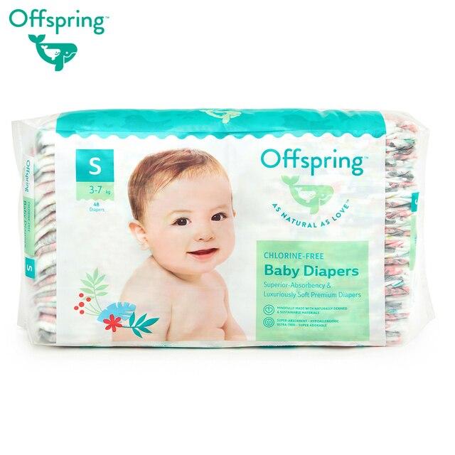Подгузники Offspring, S 3-7 кг. 48 шт. расцветка Котики