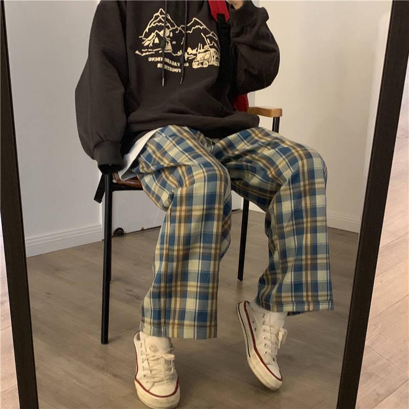 Harajuku Plaid Pants Women Oversize Wide Leg Trousers Female Korean Style High Waist Checkered Pajama 2021 Spring Summer