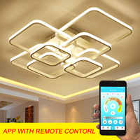 Home Modern Led Ceiling Light For Foyer Living room Bedroom Lights  Square Chandelier Ceiling Lamp White Black Lighting Fixtures