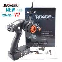 RadioLink-transmisor de control remoto para coche y barco a control remoto, giroscopio RC4GS V2, 2,4G, 4 canales, 400M de distancia, giroscopio R6Fg