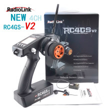 RadioLink RC4GS V2 2.4G 4CH 400M Distance Remote Controller Transmitter + R6Fg Gyro Inside Receiver for RC Car Boat
