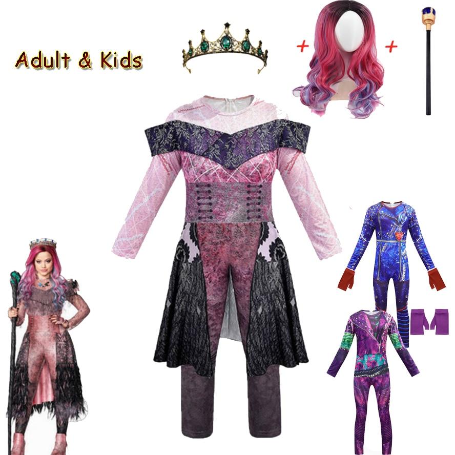 Descendentes 3 audrey traje menina fantasia halloween traje para crianças fantasia festa feminina macacão evie mal cosplay traje