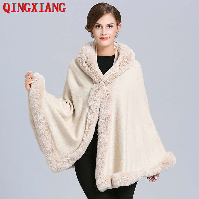 2019 Sample Women Party Overcoat Cloak Winter Faux Fox Fur Knitted Cardigan Cape Cashmere Long Sleeve Poncho With Hat
