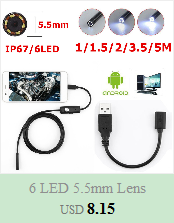 H99a4992d0bb343078c572f0366519edaU 5.5mm Endoscope Camera 1/1.5/2/3.5/5M  2 in 1 Micro USB Mini Camcorders Waterproof 6 LED Borescope Inspection Camera For Android