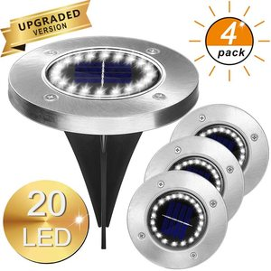 4Pack Solar Garden Lights 16/20 LED Solar Ground Lights Waterproof Light Underground Sensing Landscape Lights for Lawn Pathway