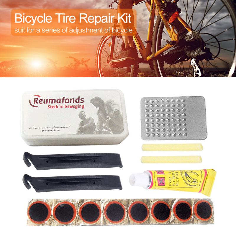 Mountain Bike Bicycle Repair Tools Cycling Flat Tire Repair Rubber Patch Glue Lever Sets Emergency Tire Fix Kit
