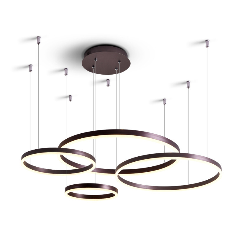 LukLoy Modern Luxury Large Ring Lamps Living Rome Coffee Gold Suspension Loft Pendant Lamp O Ring Chandelier Light Super Pretty