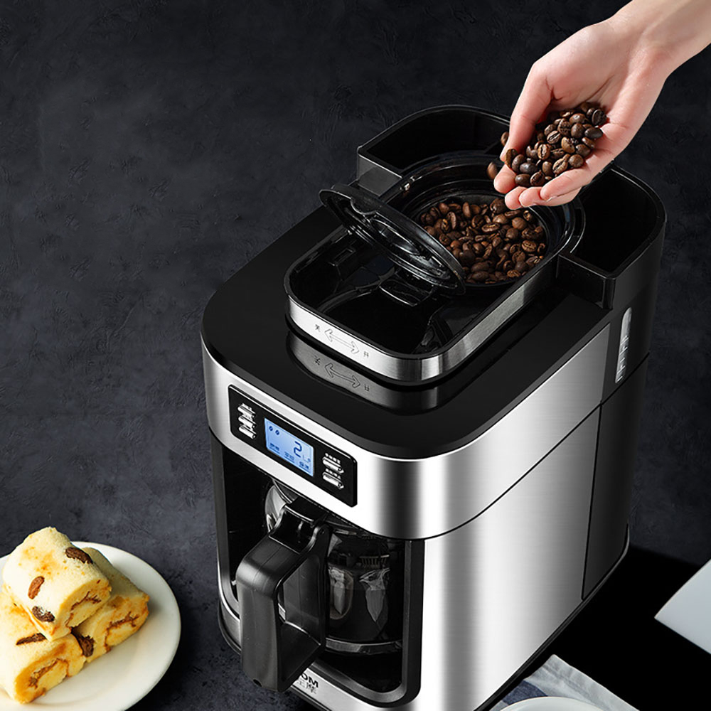 2 In1 Drip Coffee Maker Compatible Ground Coffee Beans  Automatic Stainless Steel Coffee Maker Machine Digital Display Keep Warm 6