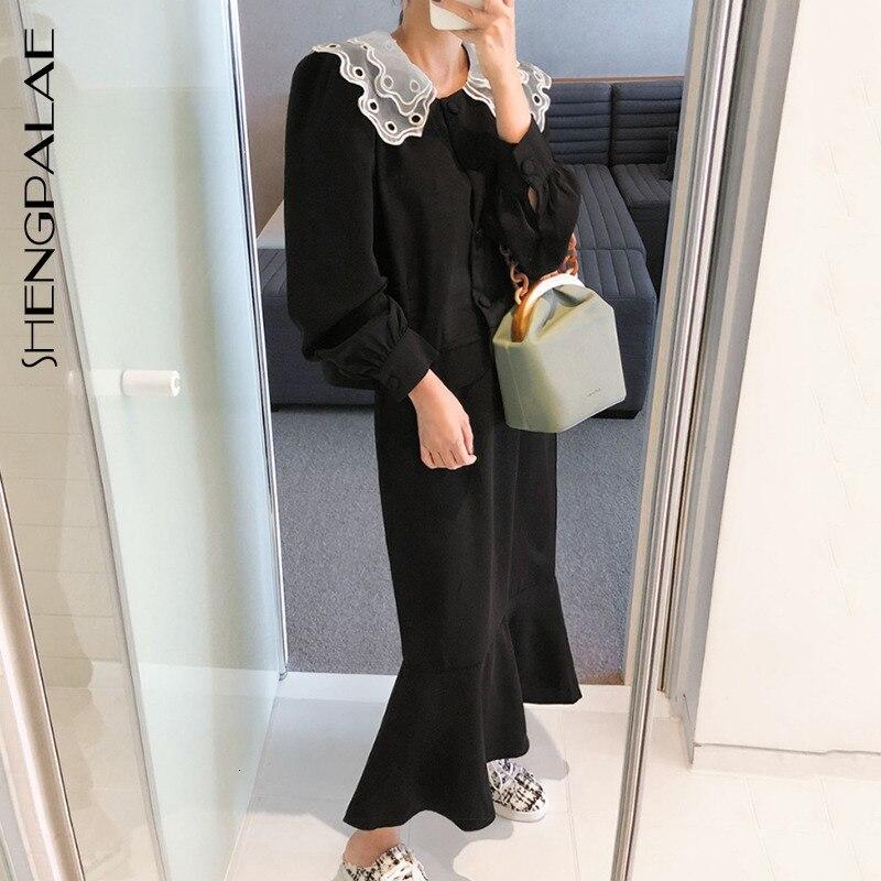 SHENGPALAE New Autumn 2020 Korea Style Sailor Collar Full Lantern Sleeve Hollow Out Ankle-length Elastic Dress Women Suit FS363