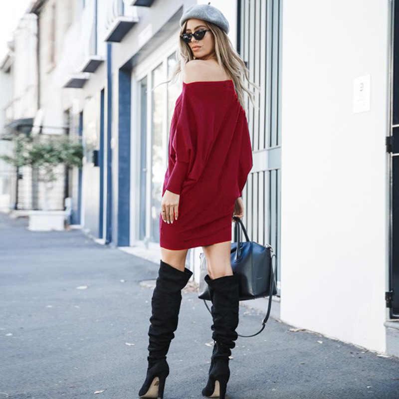 Outono slanted gola de ombro cor sólida sexy saco hip solto cintura manga longa vestido casual designer vestidos pista 2019 femme