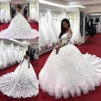 Discount 2018 New Dubai Elegant Long Sleeves A Line Wedding Dresses Sheer Crew Neck Lace Applique Beaded Vestido De Novia Bridal black cutout details crew neck long sleeves sheer shirt