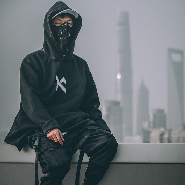 japanese sweatshirt Mens Oversize Hoodies Long Cloak Hip Hop Gothic Outwear Streetwear Coat Harajuku Style Male Tops michalkova 2