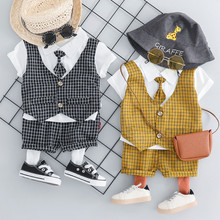 Baby Boy Gentlement Set Toddler Kids Boys Patchwork Plaid Tops Shorts Pants