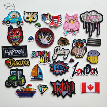 1PCS Mix Embroidery Patches for Clothing Iron on Clothes Bag Appliques Owl Letter National flag Badge Stripes Clothes Stickers image