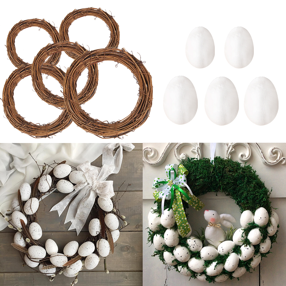 50PCS 40/60cm Easter Decoration Natural Rattan Wreath For Easter Egg Decor Kids Easter Party Favors Happy Easter Party Gifts DIY