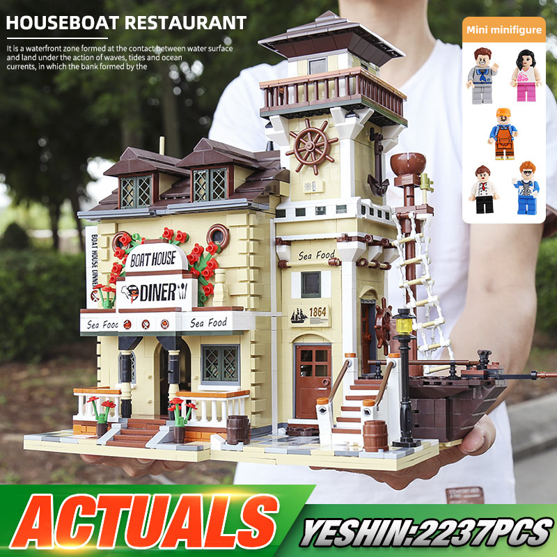 Bricks Building-Toys Hous Diner Christmas-Gifts 12003 Yeshin The-Boat Street 16050 Model
