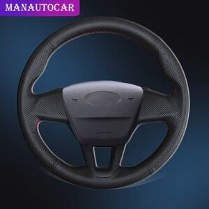 Image 1 - 포드 포커스 3 용 스티어링 휠 커버의 자동차 브레이드 다기능 버튼이없는 2015 2018 자동 조향 커버 가죽